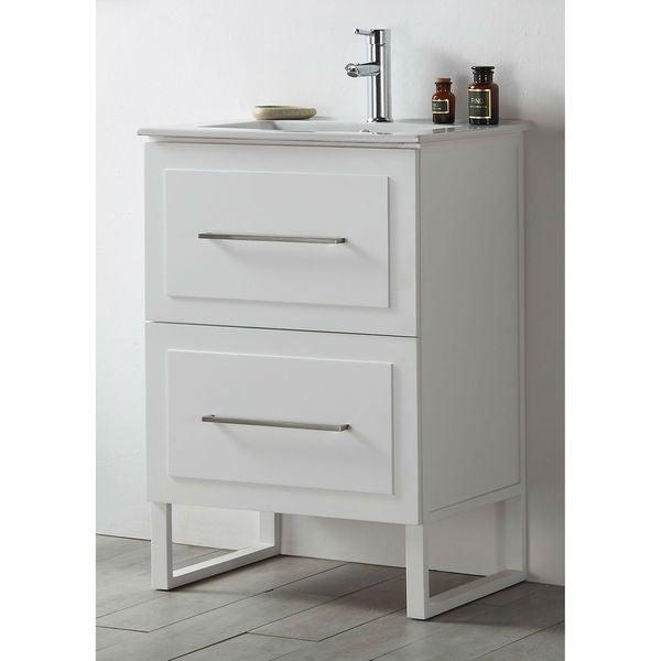 Legion Furniture White Wood 24 Inch Ceramic Top Sink Vanity