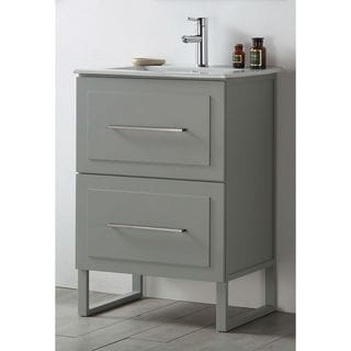 Legion Furniture Cool Grey Wood 24-inch Ceramic-top No-faucet Sink Vanity