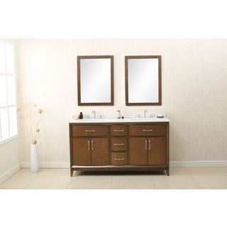 Legion Furniture Coffee-colored Wood 60-inch Antique Sink Vanity with Quartz Top