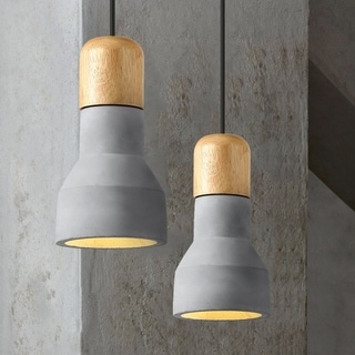 Light Society Rochester Concrete Finish Wood Mini Pendant Lamp (Grey)