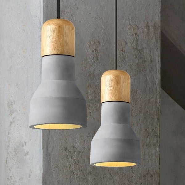Light Society Rochester Concrete Finish Wood Mini Pendant Lamp