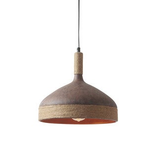 Light Society Thomas Brown Jute Iron Pendant Lamp - Rust