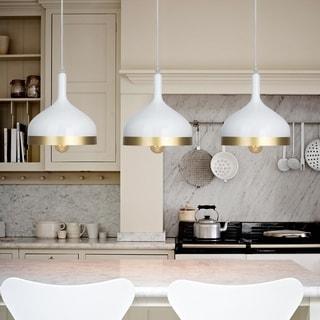 Light Society Aldershaw Gold/ White Finish Mini Pendant Lamp
