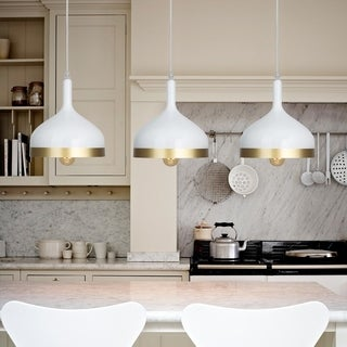 Light Society Aldershaw Gold/ White Finish Mini Pendant Lamp