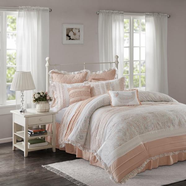 Madison Park Hilarie Pink 9-piece Cotton Percale Comforter Set