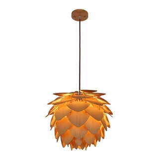 Light Society Natural-finished Wood Petals Small Pendant Lamp