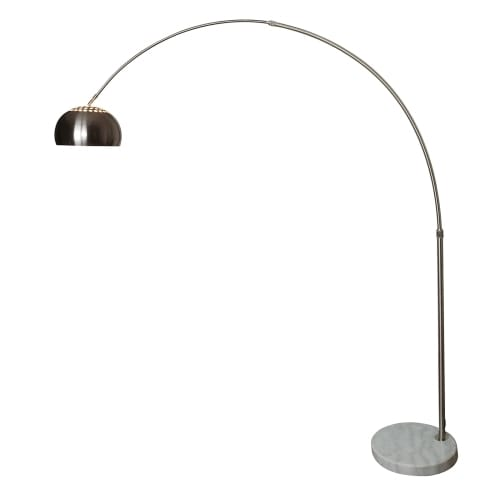 Light Society Hampton Silver Satin Nickel Arc Floor Lamp