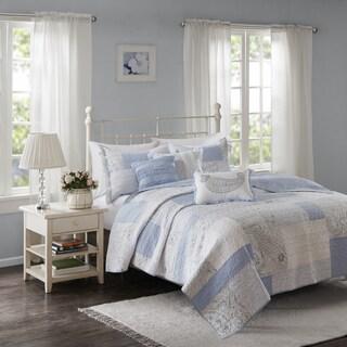 Madison Park Hilarie Blue Cotton Percale Coverlet Set