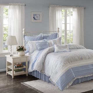 Madison Park Hilarie Blue Cotton Percale Duvet Cover 9 Piece Set