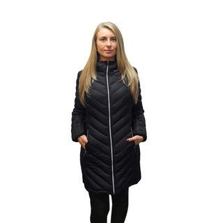 Michael Kors Women's Black Down Chevron Quilted Coat