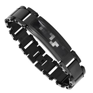 Men's Black Stainless Steel Camo Bracelet