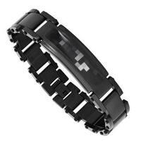 Men's Black Stainless Steel Camo Bracelet