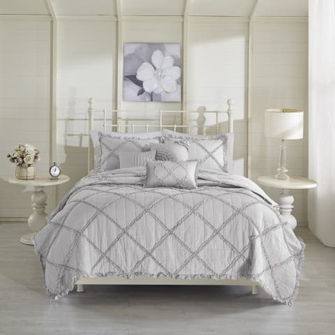 Madison Park Wendy Grey Cotton Percale Coverlet 6 Piece Set