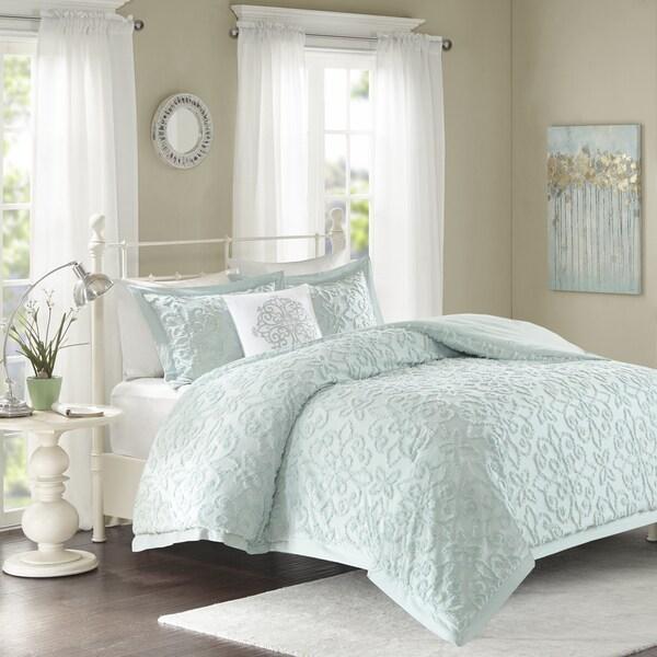 Madison Park Sarah Blue Tufted Comforter 4 Piece Set