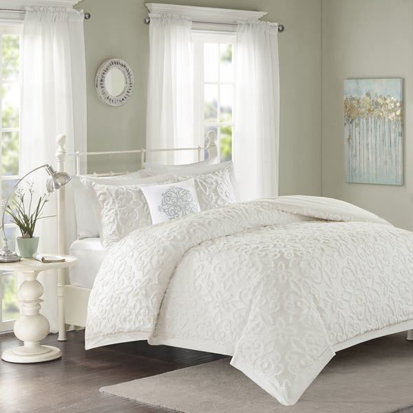 madison park sarah white tufted comforter 4 piece set free shipping today