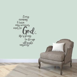 "Turn My Worries Over To God Wall Decals - 26"" wide x 36"" tall"
