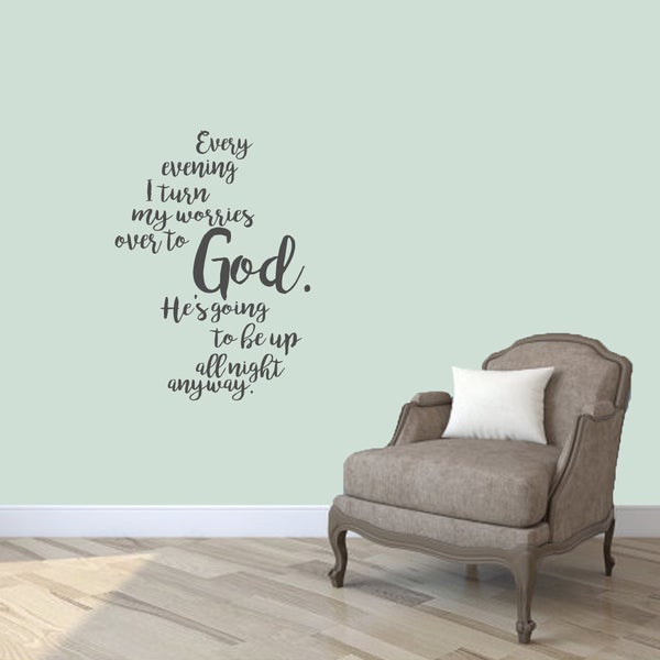 """Turn My Worries Over to God Wall Decals - 26"""" wide x 36"""" tall"""