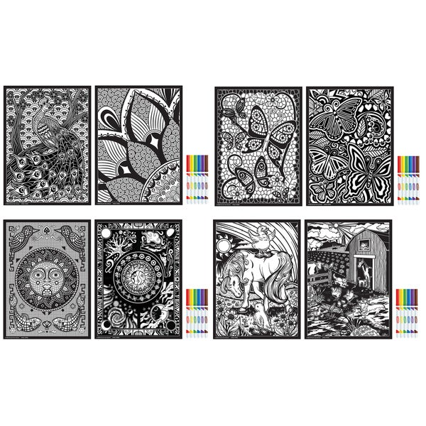 "Rose Art DDH22 11"" X 15"" Fuzzy & Line Art Poster Assorted Styles"