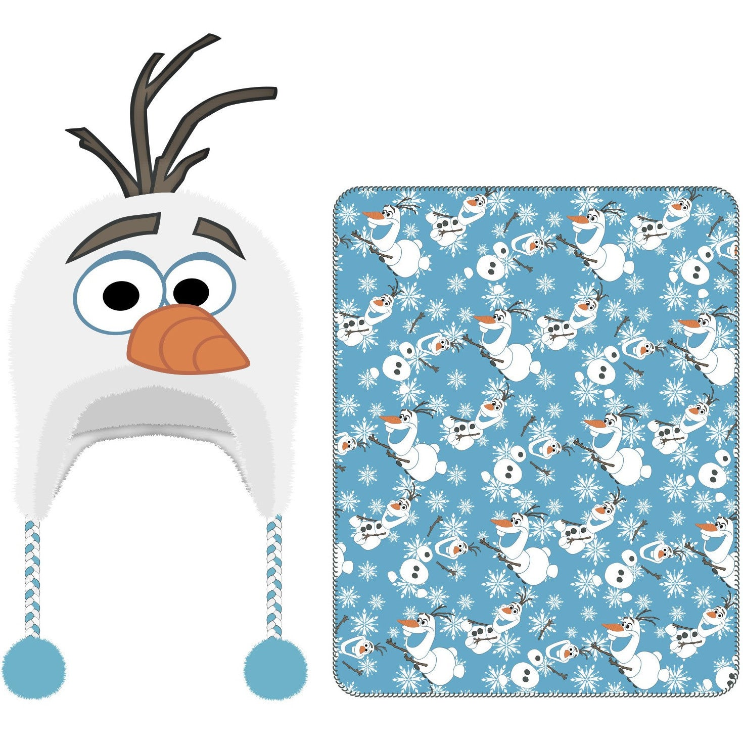 Frozen Olaf Cuddle Beanie Hat and Throw, Kids Unisex, Blu...
