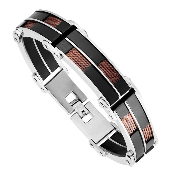 Men's Tri-color Stainless Steel and Wire Bracelet