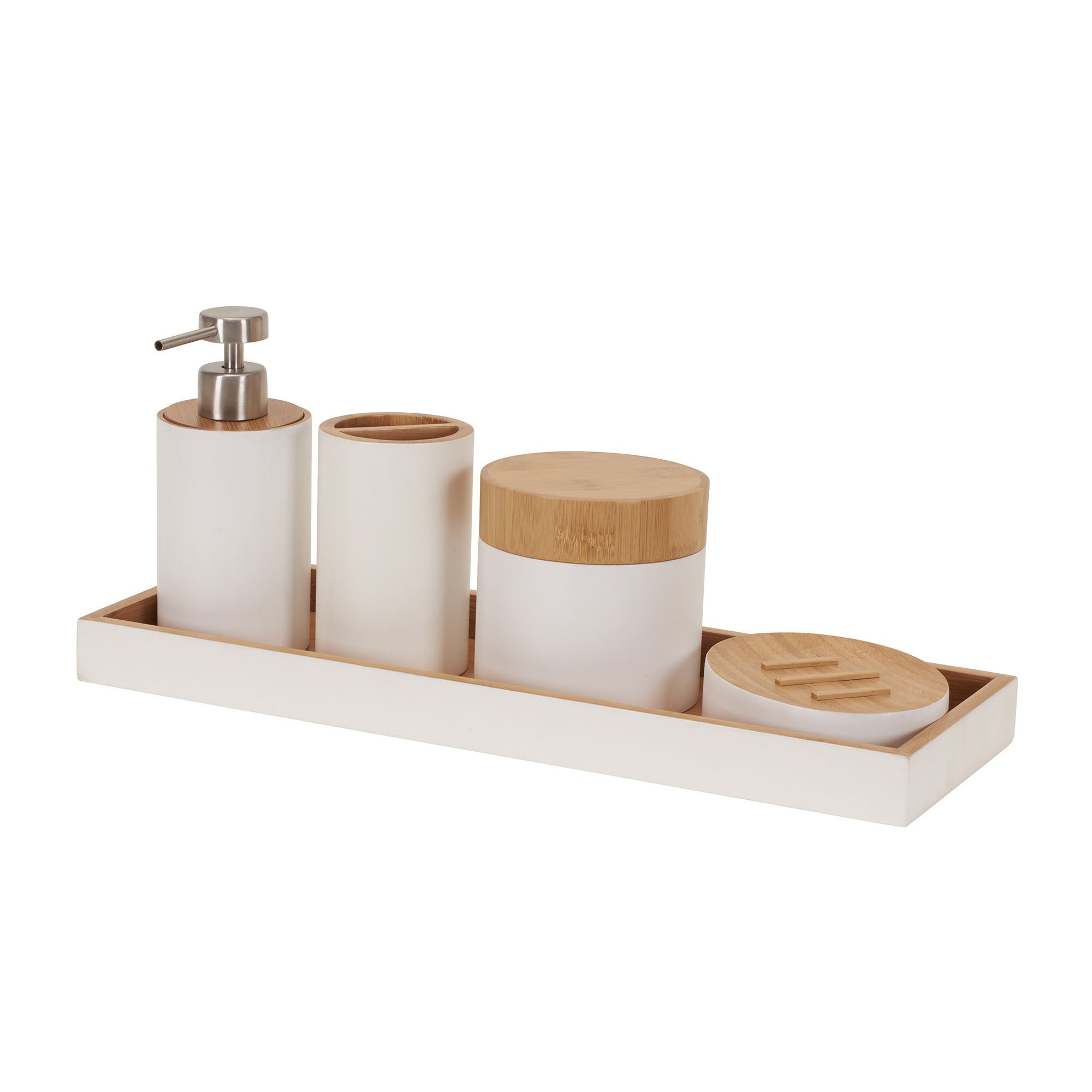Wood Bathroom Set Complete with Soap Dispenser Bamboo Bathroom Accessories Set Bamboo Wood Bathroom Modern Vanity Set Soap Holder Mug Toothbrush Holder