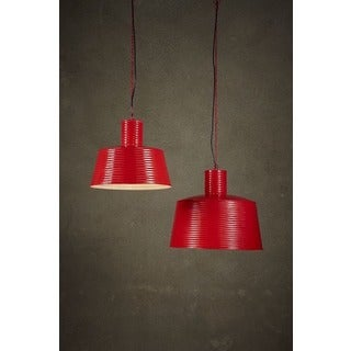 Red Metal Large Ribbed Pendant Light