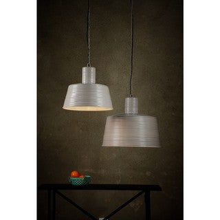 Horizon Warm Grey Powder-coated Corrugated Iron Large Ribbed Pendant Light