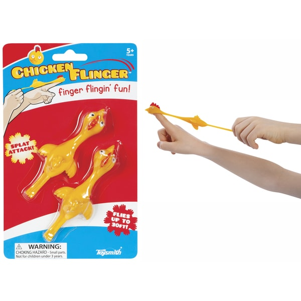 Toysmith 8096 Chicken Flingers Stretchy Flings Toy 2-count