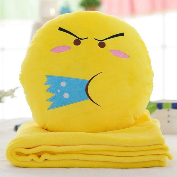 BH Toys QQ Emoji Plush Expression Yellow Cotton Spitting Water Face Hand-warming Pillow with Blanket
