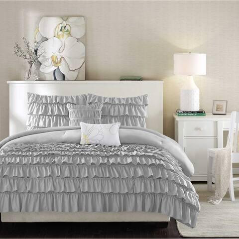 Intelligent Design Kacie Grey Solid Comforter Set