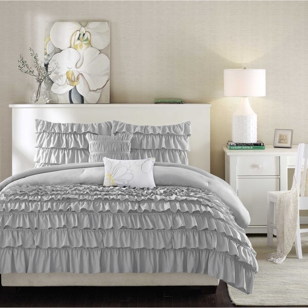 Intelligent Design Kacie Grey Solid Comforter Set