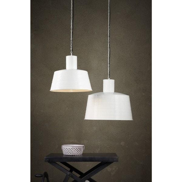 Large Metal Ribbed White Pendant Light