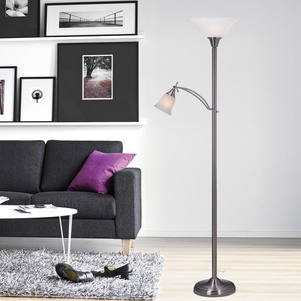 72 inch Mother/Daughter Floor Lamp in Brushed Steel.