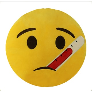 BH Toys Thermometer Face Emoji Yellow Cotton 13-inch Plush Expression Pillow