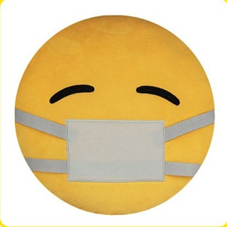 BH Toys Mask Over Mouth Face Yellow Cotton Emoji Plush Expression Pillow