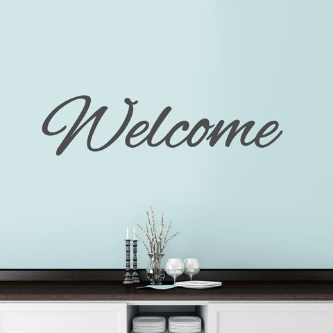 """Welcome Script Wall Decal - 48"""" wide x 12"""" tall"""