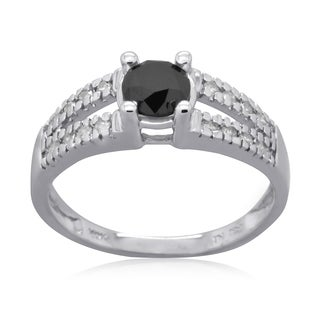 10k White Gold 1ct TDW Black and White Diamond Fashion Ring