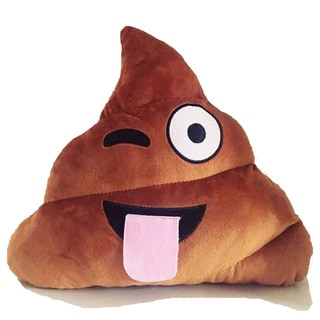BH Toys Winking Face Brown Cotton Emoji Poop Plush Expression Pillow