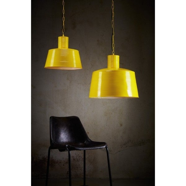 Horizon Yellow Metal Large Ribbed Pendant Light