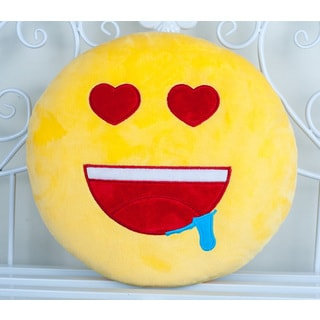 BH Toys QQ Emoji Plush Expression Yellow Cotton 22-inch Heart Eyes Emoji Face Pillow