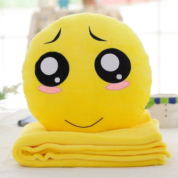 BH Toys QQ Emoji Series Pity Face Plush Expression Hand-warming Pillow with Blanket