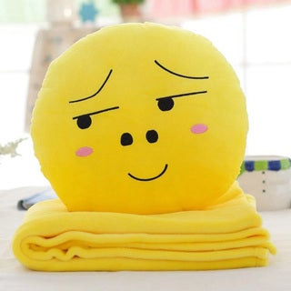 BH Toys QQ Emoji 'Looking Right Face' Yellow Cotton 15-inch Plush Expression Hand-warming Pillow With Blanket