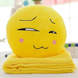 BH Toys QQ Emoji Plush Expression Yellow Cotton Smirking Face Hand-warming Pillow with Blanket