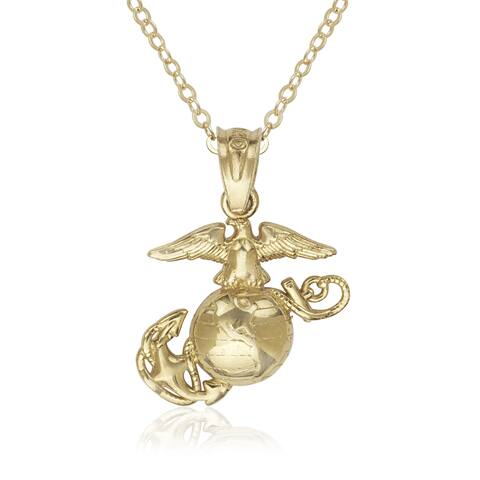 14k Yellow Gold 16-inch Small Polished Marine Corps Emblem Pendant Necklace