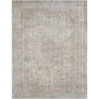 Pasargad Ivory Wool Vintage Overdyed Hand-knotted Area Rug (8'6 x 11'4)