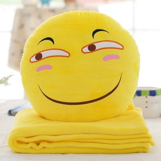 BH Toys QQ Emoji 'Sly Face' Yellow Cotton 15-inch Plush Expression Hand-warming Pillow With Blanket