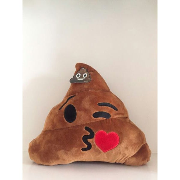 BH Toys Brown Cotton Emoji Poop Plush Kiss Expression Pillow