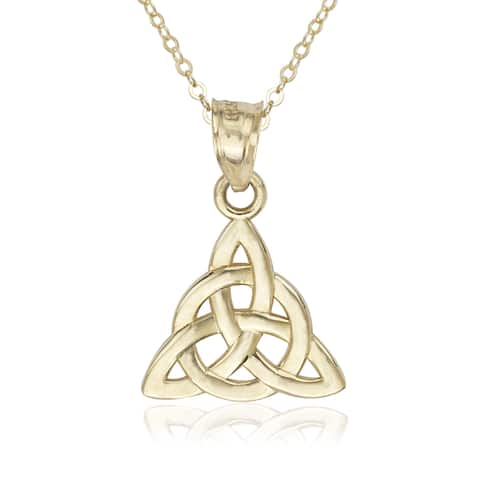 Women's Triquetra Celtic Polished 14k Yellow Gold 16-inch Trinity Knot Pendant Necklace