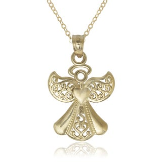 14k Yellow Gold Filigree 16-inch Angel Pendant Necklace