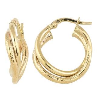 Fremada Italian 14k Yellow Gold Wavy Double Hoop Earrings
